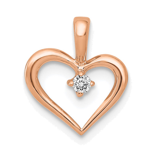 Lex & Lu 14k Rose Gold AA Diamond Heart Pendant LAL3582-Lex & Lu