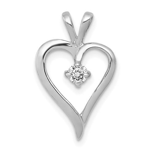 Lex & Lu 14k White Gold AA Diamond Heart Pendant LAL3595-Lex & Lu