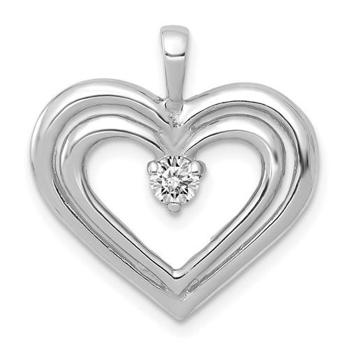 Lex & Lu 14k White Gold AA Diamond Heart Pendant LAL3620-Lex & Lu