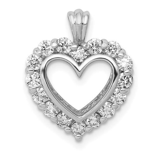 Lex & Lu 14k White Gold AA Diamond Heart Pendant LAL3653-Lex & Lu