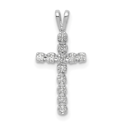 Lex & Lu 14k White Gold AA Diamond Cross Pendant LAL3743-Lex & Lu