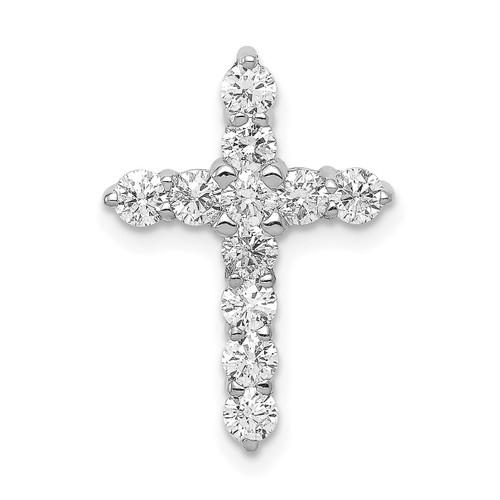 Lex & Lu 14k White Gold AA Diamond Cross Pendant LAL3751-Lex & Lu