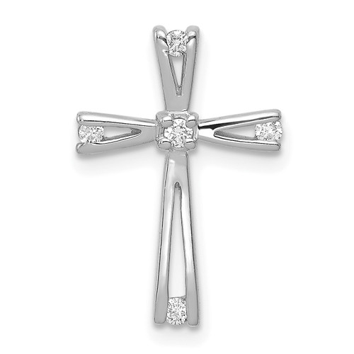 Lex & Lu 14k White Gold AA Diamond Cross Pendant LAL3853-Lex & Lu