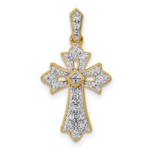 Lex & Lu 14k Yellow Gold Filigree Diamond Cross Pendant LAL3939-Lex & Lu