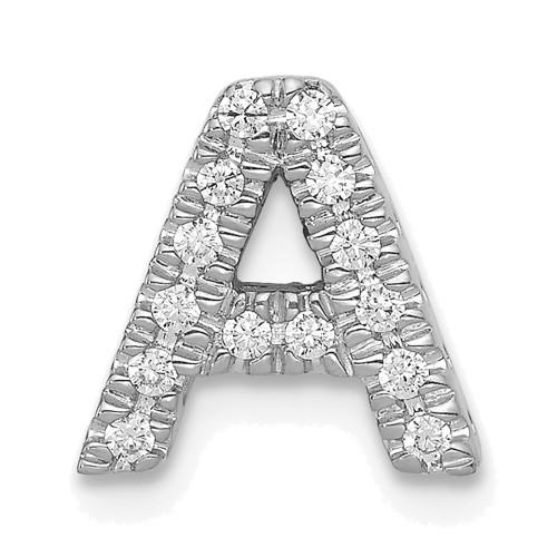 Lex & Lu 14k White Gold Diamond Initial A Charm-Lex & Lu