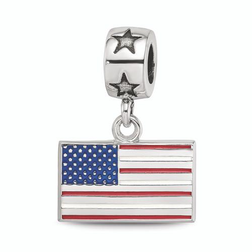 Lex & Lu Sterling Silver Flag 3/8 Enameled On Star Bead Bail - Lex & Lu