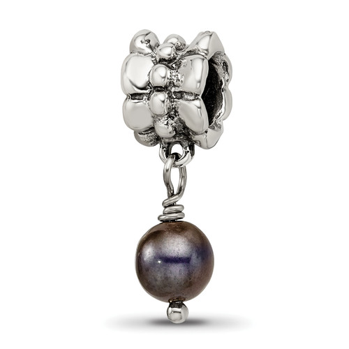 Lex & Lu Sterling Silver Reflections Grey FW Cultured Pearl Dangle Bead - Lex & Lu