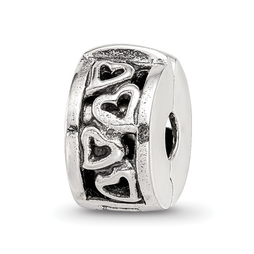 Lex & Lu Sterling Silver Reflections Hinged Hearts Clip Bead LAL4419 - Lex & Lu