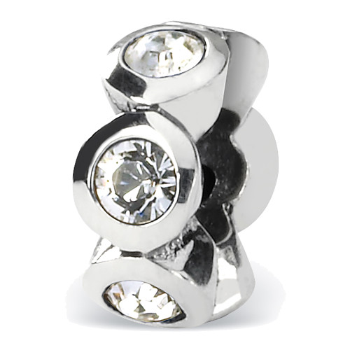 Lex & Lu Sterling Silver Reflections April Crystals Birthstone Bead LAL4551-Lex & Lu