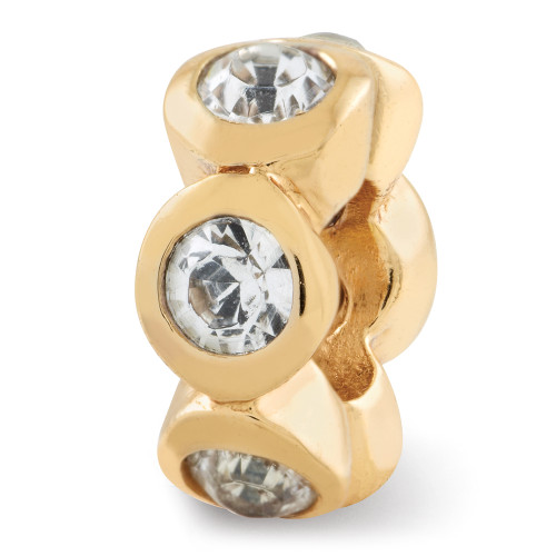 Lex & Lu G/P Sterling Silver Reflections April Swarovski Elements Bead-Lex & Lu