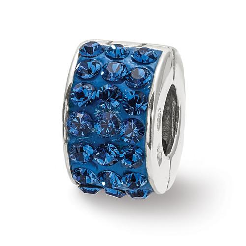 Lex & Lu Sterling Silver Reflections Blue Swarovski Elements Bead-Lex & Lu