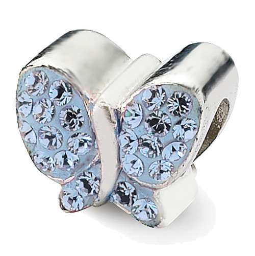 Lex & Lu Sterling Silver Reflections Blue Crystals Butterfly Bead-Lex & Lu