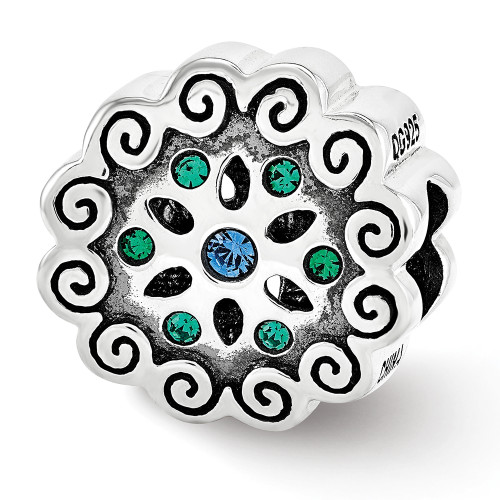 Lex & Lu Sterling Silver Reflections Blue/Green Crystals Flower Bead-Lex & Lu