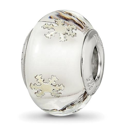 Lex & Lu Sterling Silver Reflections Snowflake White Italian Glass Bead - Lex & Lu