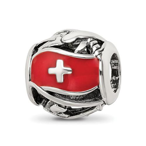 Lex & Lu Sterling Silver Reflections Enameled Switzerland Theme Bead - Lex & Lu