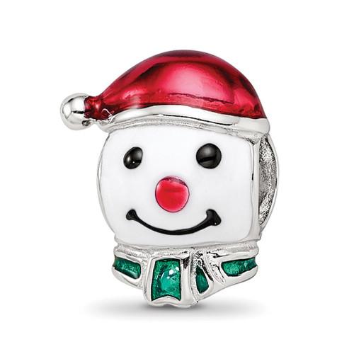 Lex & Lu Sterling Silver Reflections Enameled Snowman Head Bead - Lex & Lu