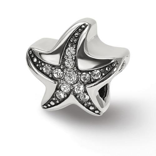 Lex & Lu Sterling Silver Reflections Swarovksi Crystal Starfish Bead-Lex & Lu
