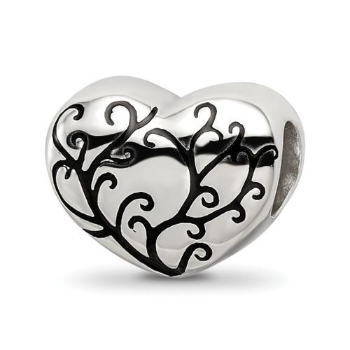Lex & Lu Sterling Silver Reflections Black Enameled Bead, Silver IP-Plated Heart B - Lex & Lu
