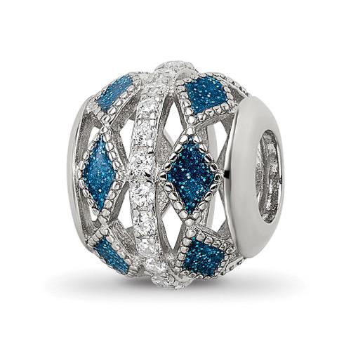 Lex & Lu Sterling Silver Reflections Blue Accent & CZs Cut Out Circle Bead - Lex & Lu