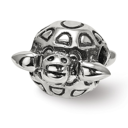 Lex & Lu Sterling Silver Reflections Antiqued Turtle Bead-Lex & Lu