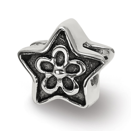 Lex & Lu Sterling Silver Reflections Antiqued Star with Flower Kids Bead-Lex & Lu