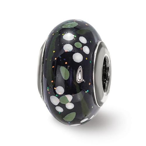 Lex & Lu Sterling Silver Reflections White Flower Glitter Black Italian Glass Bead-Lex & Lu