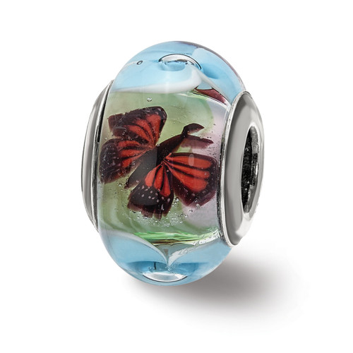 Lex & Lu Sterling Silver Butterflies and Flowers Glass Bead-Lex & Lu