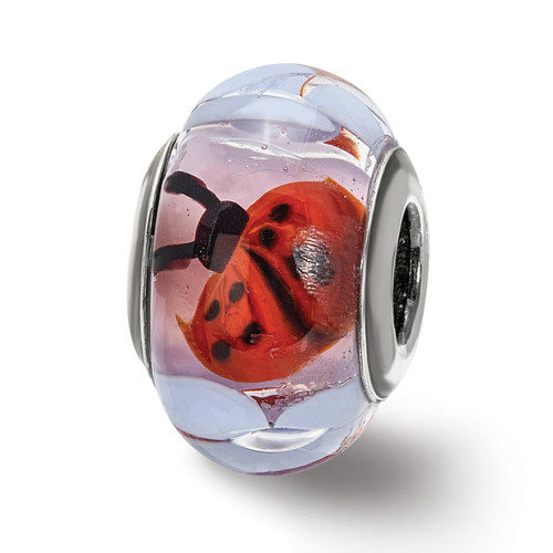 Lex & Lu Sterling Silver Ladybugs and Flowers Glass Bead-Lex & Lu
