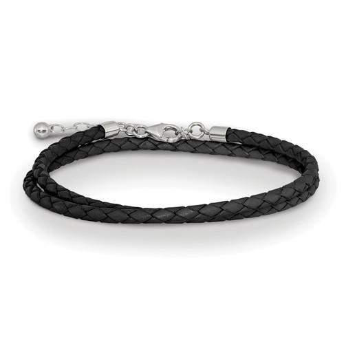 Lex & Lu Sterling Silver Reflections Black Leather 14in w/2'' Ext Choker/Wrap Bracelet - Lex & Lu
