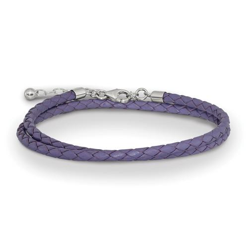 Lex & Lu Sterling Silver Reflections Purple Leather 14in w/2'' Ext Choker/Wrap Bracelet - Lex & Lu