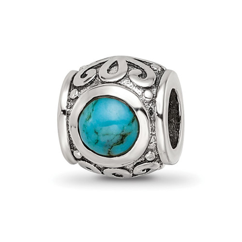 Lex & Lu Sterling Silver Reflections Turquoise Bead LAL6471 - Lex & Lu
