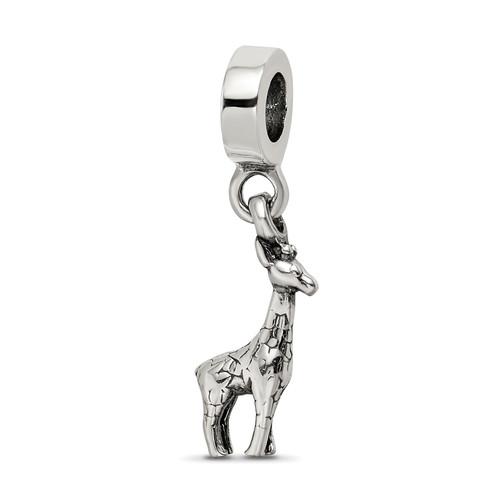 Lex & Lu Sterling Silver Reflections Giraffe Dangle Bead - Lex & Lu
