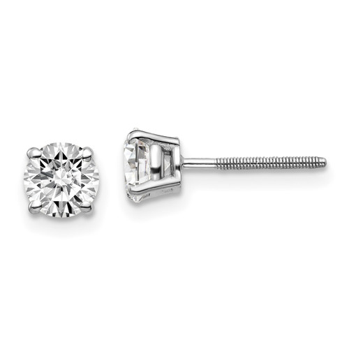 Lex & Lu 14k White Gold 1.00ct SI3 G-I Diamond Stud Thread on/off Post Earrings-Lex & Lu
