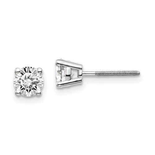 Lex & Lu 14k White Gold .95ct SI3 G-I Diamond Stud Thread on/off Post Earrings-Lex & Lu