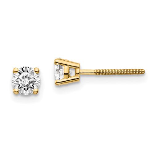 Lex & Lu 14k Yellow Gold .60ct. VS2/SI1 G-I Diamond Stud Thread on/off Post Earrings-Lex & Lu