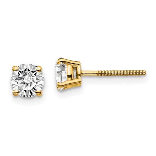 Lex & Lu 14k Yellow Gold 1.00ct. VS2/SI1 G-I Diamond Stud Thread on/off Post Earrings-Lex & Lu
