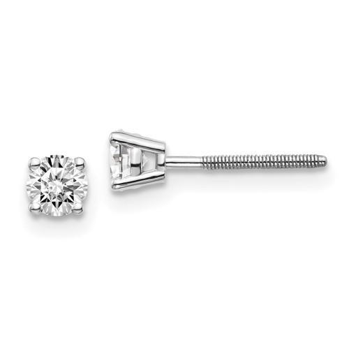 Lex & Lu 14k White Gold .40ct VS2/SI1 G-I Diamond Stud Thread on/off Post Earrings-Lex & Lu