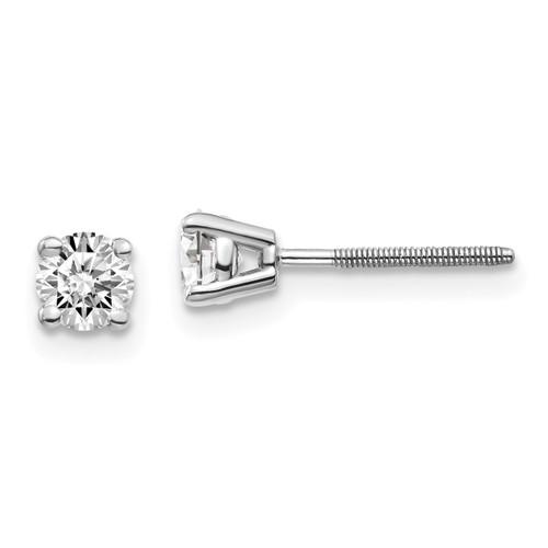 Lex & Lu 14k White Gold .50ct VS2/SI1 G-I Diamond Stud Thread on/off Post Earrings-Lex & Lu