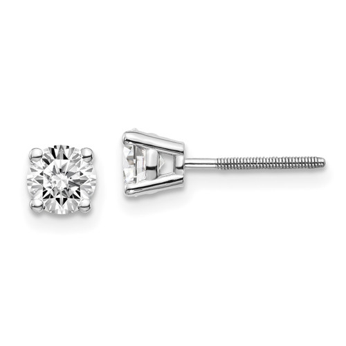 Lex & Lu 14k White Gold .75ct VS2/SI1 G-I Diamond Stud Thread on/off Post Earrings-Lex & Lu