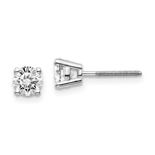Lex & Lu 14k White Gold .85ct VS2/SI1 G-I Diamond Stud Thread on/off Post Earrings-Lex & Lu