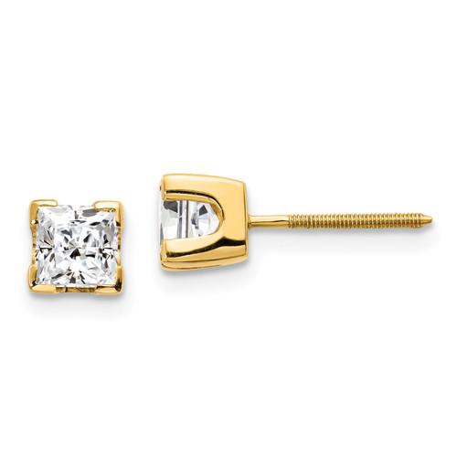Lex & Lu 14k Yellow Gold 1ct AA Quality Complete Princess-cut Diamond Stud Earrings-Lex & Lu