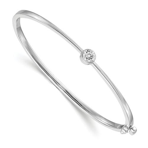 Lex & Lu 14k White Gold AA Diamond Bangle Bracelet LAL15059-Lex & Lu