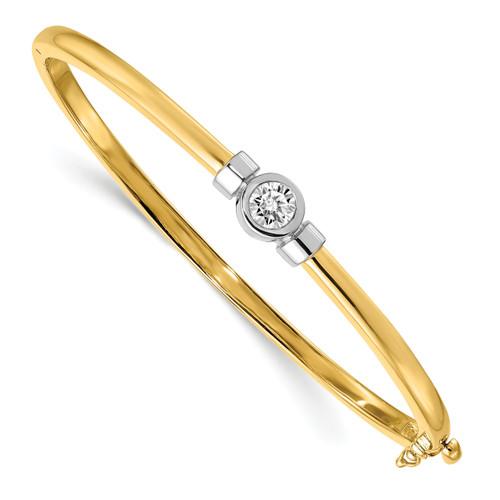 Lex & Lu 14k Two Tone Gold AA Diamond Bangle Bracelet LAL15071-Lex & Lu