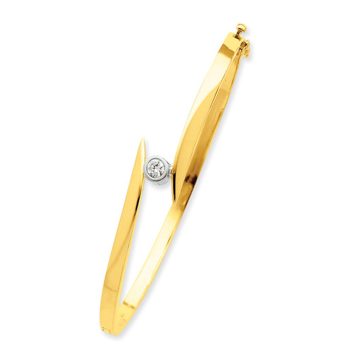 Lex & Lu 14k Two Tone Gold AA Diamond Bangle Bracelet LAL15102-Lex & Lu