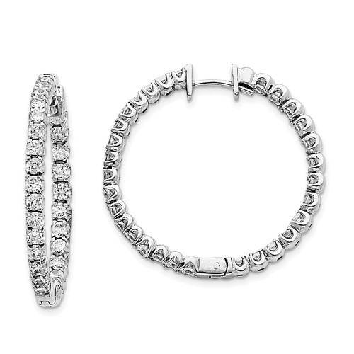 Lex & Lu 14k White Gold AA Diamond Hinged Hoop Earrings LAL15112-Lex & Lu