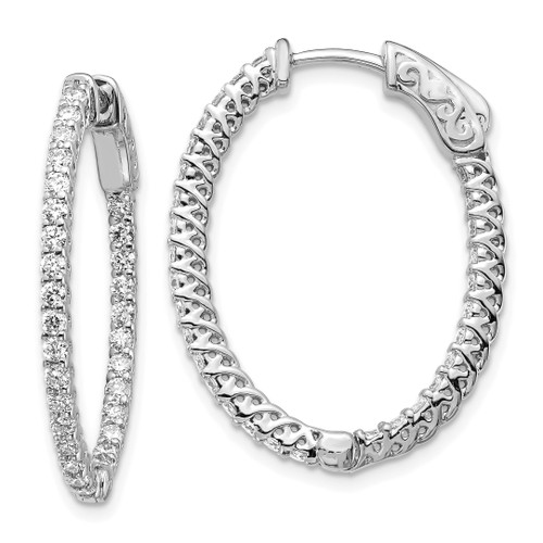 Lex & Lu 14k White Gold Diamond Oval Hoop w/Safety Clasp Earrings LAL15182 - Lex & Lu