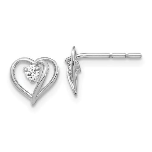 Lex & Lu 14k White Gold AA Diamond Heart Earrings LAL15206 - Lex & Lu