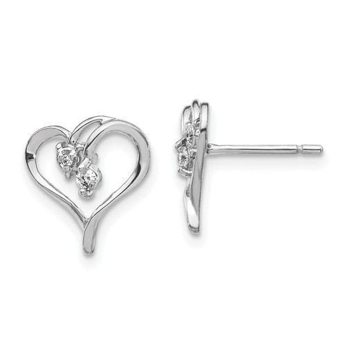 Lex & Lu 14k White Gold AA Diamond Heart Earrings LAL15208-Lex & Lu