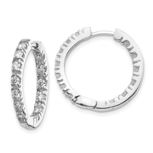 Lex & Lu 14k White Gold AA Diamond Hinged Hoop Earrings LAL15212 - Lex & Lu