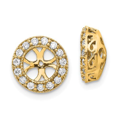 Lex & Lu 14k Yellow Gold AA Diamond Earring Jacket LAL15226 - Lex & Lu